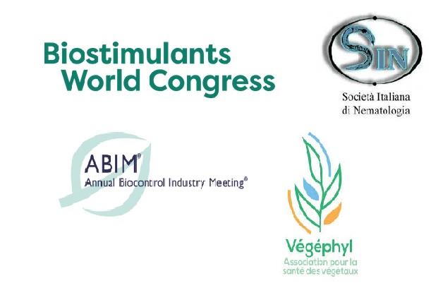 Logos of Biostimulants world congress, ABIM, Società Italiana di Nematologia, Végéphyl