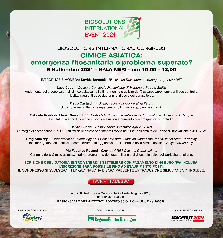 Programma convegno biosolutions 2021